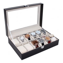 12 Grid Jewelry Watch Collection Display Storage Organizer Leather Box Case