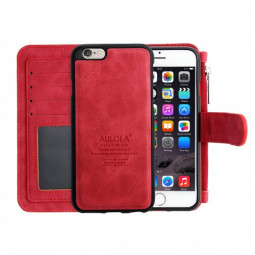 2-in-1 Genuine Leather Wallet Purse Flip Case Cover for iPhone 6 - Red