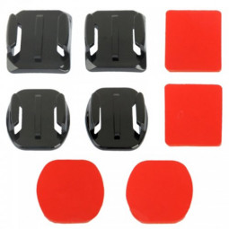 2 Curved Surface + 2 Flat Surface Base + 4 Adhesive Mount Stickers for GoPro HERO4 /3+/3/2/1
