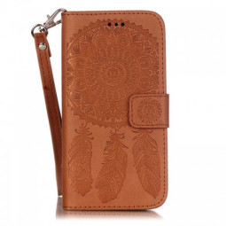 Dreamcatcher Embossed Stand Flip Wallet Credit Card Cover Case for iPhone 6S - Brown