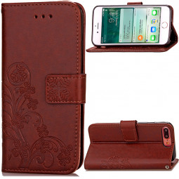 Fashion Four-leaf Clover Pattern PU Leather Wallet Case Cover for iPhone 7 Plus - Brown
