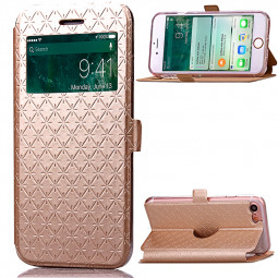 Fashion Plaid View Pattern PU Leather Wallet Case Cover for iPhone 7 - Gold