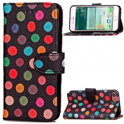 Fashion Colorful Dot Pattern PU Leather Wallet Case Cover for iPhone 7 - Black