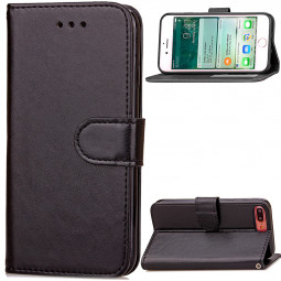 Fashion PU Leather Card Wallet Case Cover for iPhone 7 Plus - Black
