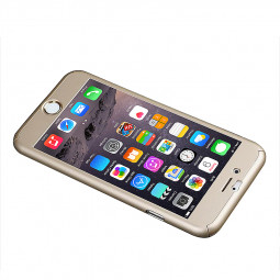 360 Full Coverage Hard Thin Case + Tempered Glass Cover For iPhone 7 Plus - Gold