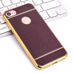 Fashion Soft Plating Protective Back Case Cover for iPhone 7 - Brown