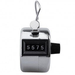 Tally Counter Hand Held Clicker 4 Digit Chrome People Counting Counter