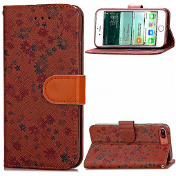 Fashion Floral Pattern PU Leather Phone Case for iPhone 7 Plus - Brown