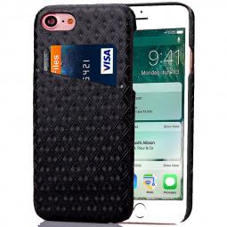 Fashion Rhombus Lattice Back Card Phone Case for iPhone 7 - Black