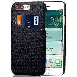 Fashion Rhombus Lattice Back Card Phone Case for iPhone 7 Plus - Black