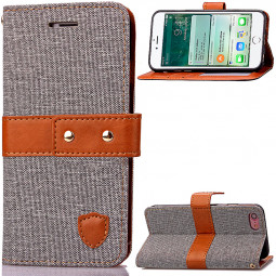Fashion Tangerine Style Wallet Card Phone Case for iPhone 7 - Gray