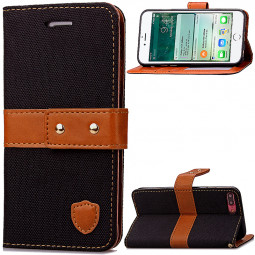 Fashion Tangerine Style Wallet Card Phone Case for iPhone 7 Plus - Black