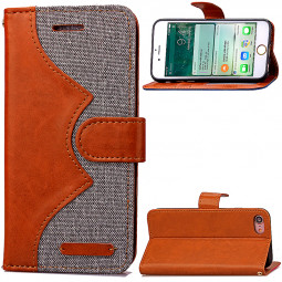 Fashion Wave Pattern Wallet Card Phone Case for iPhone 7 - Gray