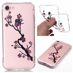 Fashion Soft TPU Protective Back Case Cover for iPhone 7 - Plum Flower