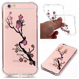 Fashion Soft TPU Protective Back Case Cover for iPhone 6/6S - Plum Flower
