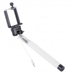 Handheld Wired Cable Control Selfie Stick Extendable Pole - White