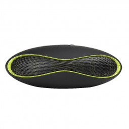 Small Rugby Bluetooth Speaker Music Wireless SD-Card Stereo MP3 - Black with Green