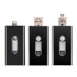 3 in 1 8G Flash Drive OTG USB U Disk Memory Stick for iPhone IOS Android iPad - Black