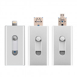 3 in 1 64G Flash Drive OTG USB U Disk Memory Stick for iPhone IOS Android iPad - Silver