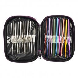 22pc Multicolour Aluminum Crochet Hooks Knitting Needles Set with Case
