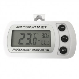 Fridge Refrigerator LCD Waterproof Thermometer with Hanging Hook - White