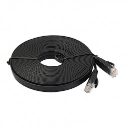 1m CAT6 RJ-45 Ultra-Thin Flat Ethernet Network Cable for Smart TV Xbox - Black