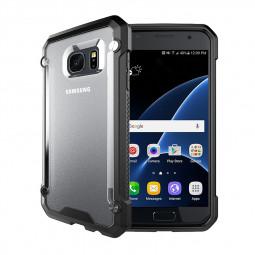 Hybrid Shockproof Hard PC Back Plate with TPU Gel Bumper Case for Samsung S7 - Black