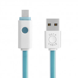 LED Light Up Micro USB Charging Data Transmission Cable for Android Devices - Blue