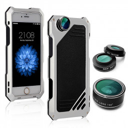 Shockproof Waterproof Glass Flim Metal Case Cover with Photo Lens for iPhone 7 - Silver