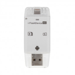 Universal Flash Drive SD Microsd TF Memory Card Reader for iPhone Android - White