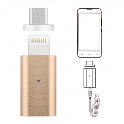 Dual Android iPhone Charging Cable Magnetic Adapter Lead - Gold