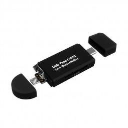 3 in 1 Type C/USB 2.0/OTG TF SD Card Reader Writer for Phone Laptop - Black