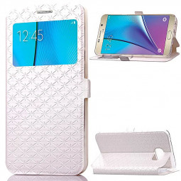 Opening Window Magnetic Stand Flip Leather Case Cover for Samsung Note 5 - White