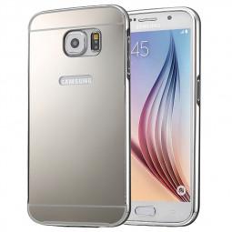 Aluminum Alloy Bumper Border Mirror Backplate Case for Samsung Galaxy S7 - Silver