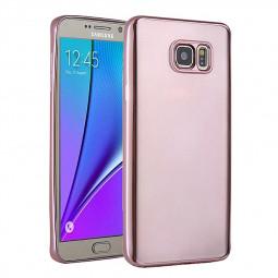 TPU Slim Soft Transparetn Skin Case with Electroplating Edge for Samsung S7 - Rose Red