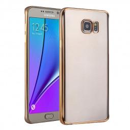 TPU Slim Soft Transparetn Skin Case with Electroplating Edge for Samsung S7 Edge - Gold