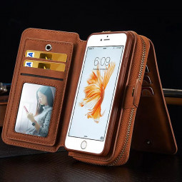 Premium Multifunctional Leather Zipped Portable Wallet Phone Case for iPhone 6 6S - Brown