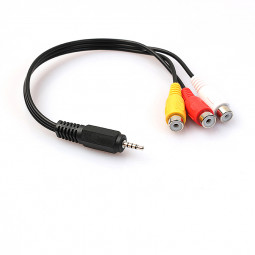 2.5mm Mini AV Male to 3RCA Female Audio Cable Stereo Jack Adapter Cord