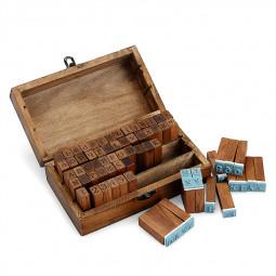 70pcs Vintage Wooden Rubber Upper Lower Case Alphabet Letters Number Stamps Set