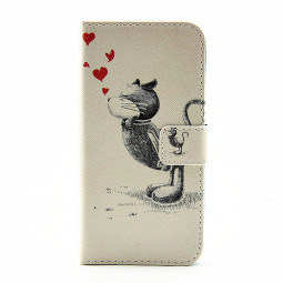 Lovely Painted Stand  Flip Wallet Card Pockets Phone Case Cover for Samsung S6 Edge Plus - Kiss Cat