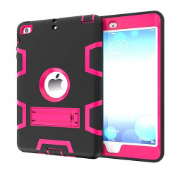 Robot Armor kickstand Shockproof Protective Case Cover for iPad Mini3 - Black + Rose Red