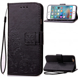 Lucky Clover Pattern PU Leather Flip Stand Wallet Cover Case for iPhone 6S - Black