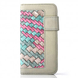 Stand Flip Wallet Credit Card Knit Weave Cover Case for iPhone 6S - Grey + Red Green