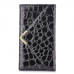 Crocodile Grain Magnetic Flip Wallet Case Cover for iPhone 6S - Black
