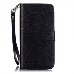 Dreamcatcher Embossed Stand Flip Wallet Credit Card Cover Case for Samsung Galaxy S6 - Black