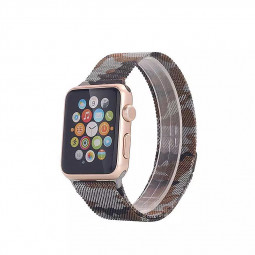 42mm Steel Military Army Magnetic Watchband Strap for Apple Watch iWatch - Camouflage Grey