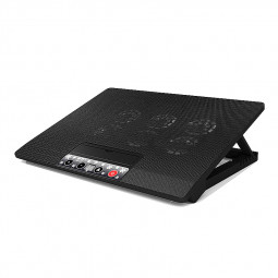 "Slim 6 Fan Stand Tilt Laptop Cooler 12"" 15.4"" 15.6"" 17"" inch with Button Control - Black"
