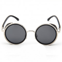 Round Mirror lens Cyber Goggles Steampunk Sunglasses Vintage Retro - Grey