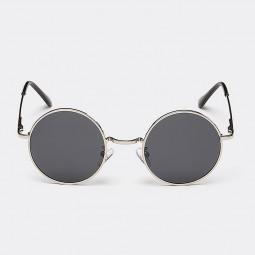 Round Vintage Hippy Cyber Goggles Mens Womens Sunglasses - Silver Frame+Grey Lens