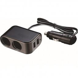 3.1A 12-24v Car Cigarette Lighter Socket Dual USB Ports Charger Adaptor - Black